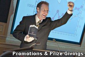 promotions and prize or award giving evenings hire services